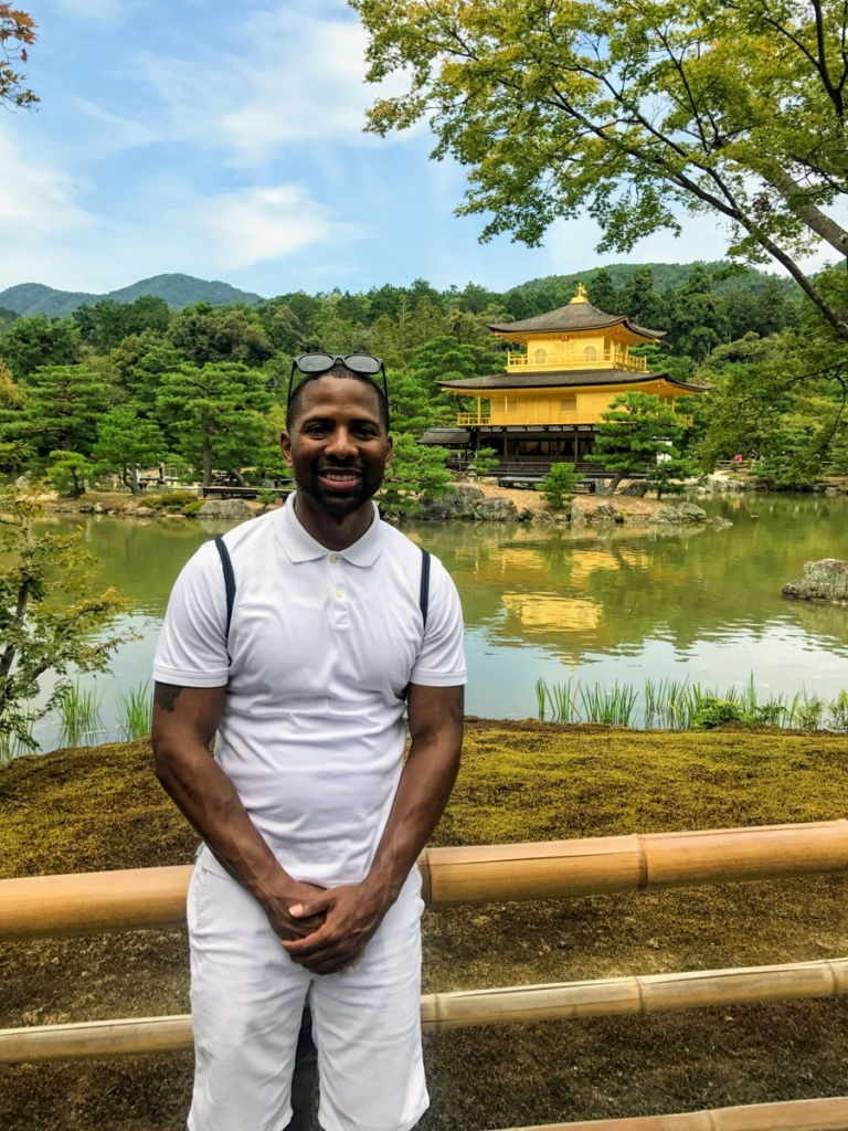 Standing in front of the Kinkaku-ji Buddhist Temple