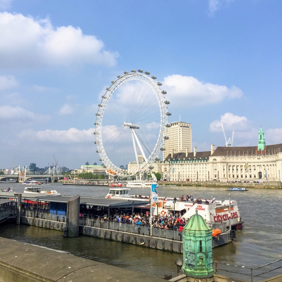 View of London Eye across the River Thames