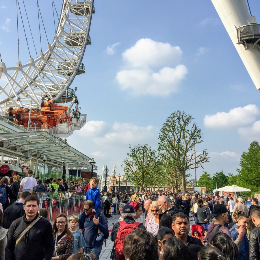 View of the line to enter the London Eye