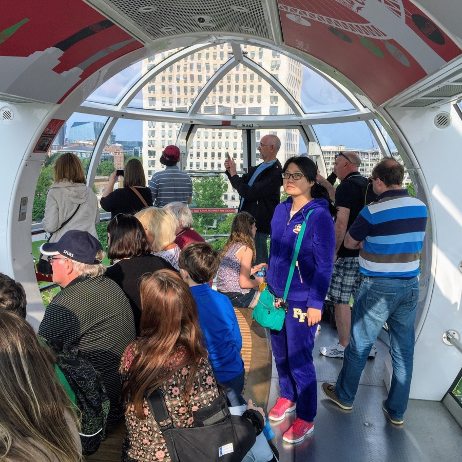 Inside of the bubble on the London Eye