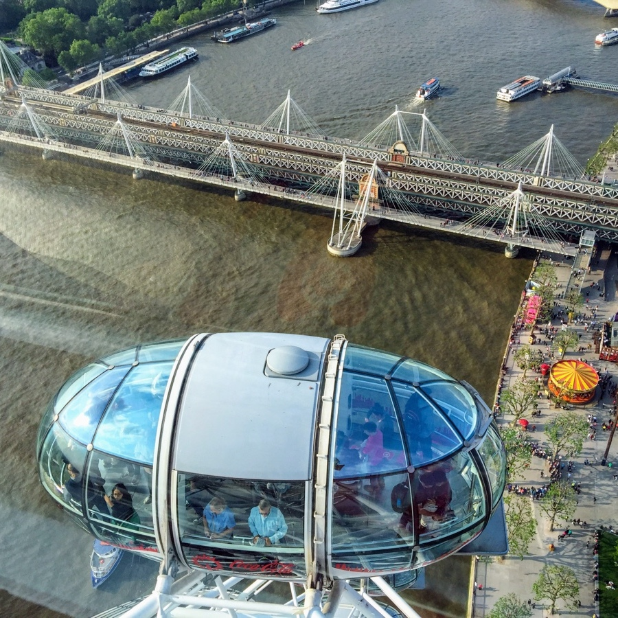 View from the London Eye out into the River Thames