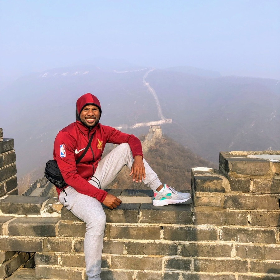 Posing for a picture on the Great Wall of China