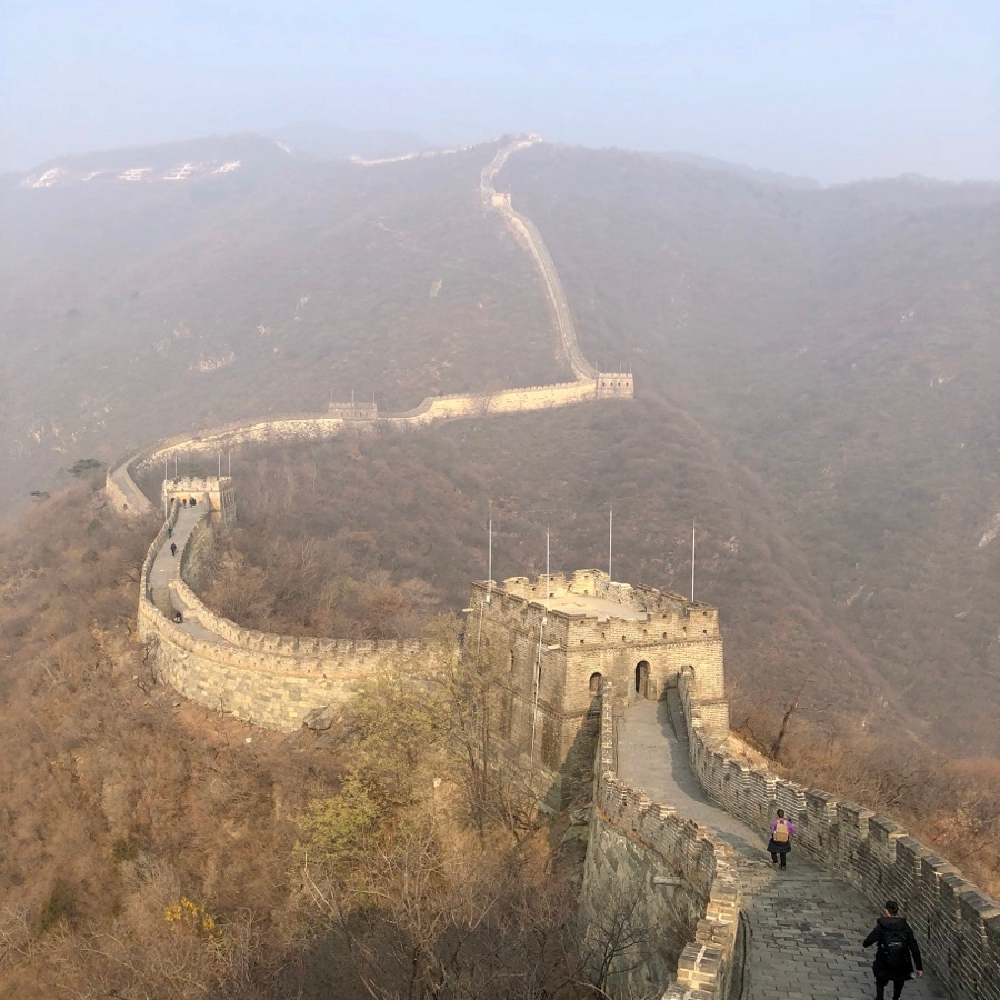 Long distance look of the Great Wall of China