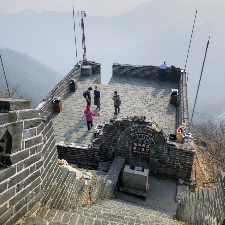 Overlooking one of landing areas of Great Wall of China