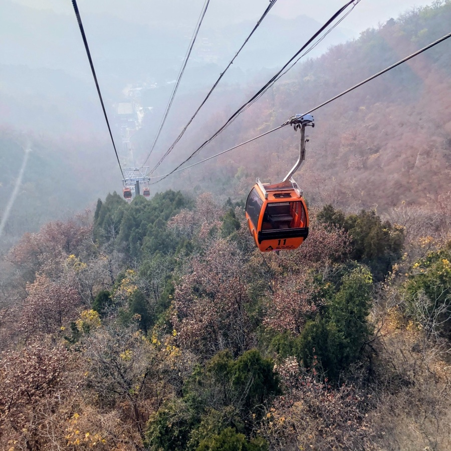 Cable car going up to Great Wall of China