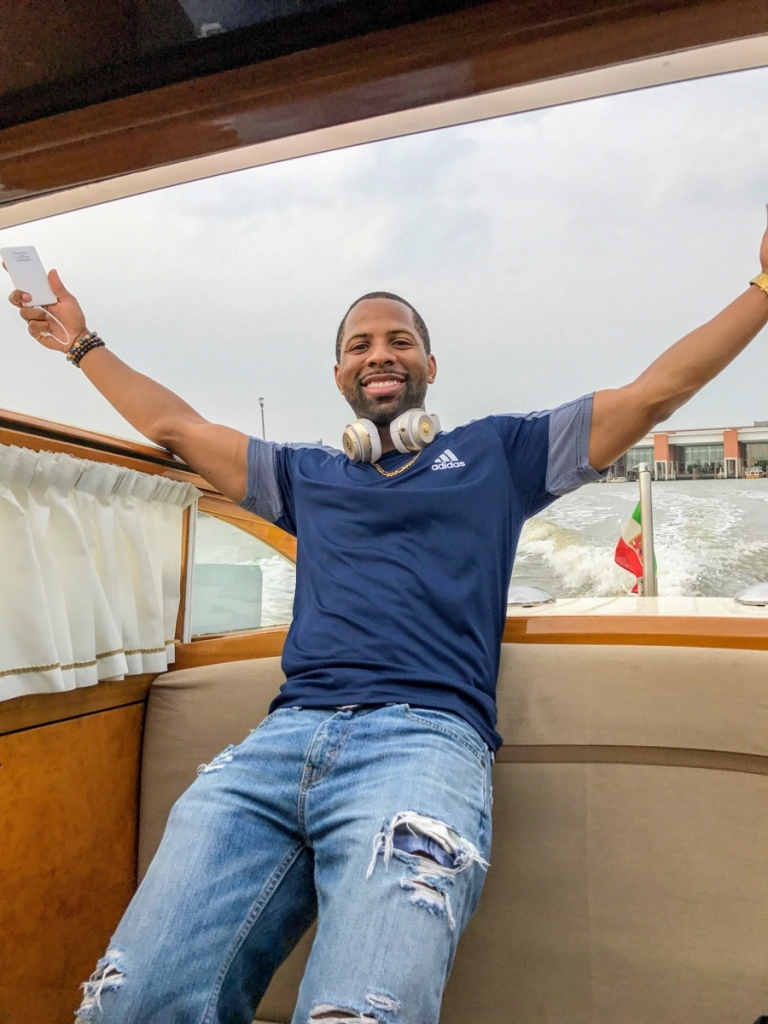 Me happily leaving the Venice Marco Polo Airport in a water taxi